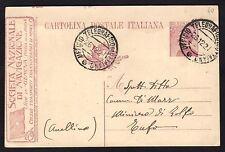 STORIA POSTALE REGNO 1921 Intero Postale 25c Soc. Naz. Navigazione USATO (FM6)