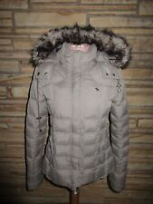 New Abercrombie & Fitch Sz XS Hoodie Coat Faux Fur Trim Down Filled