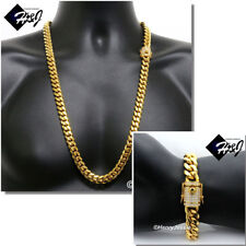 "30""MEN Stainless Steel 12x5mm Gold ICED Miami Cuban Curb Chain Bracelet Necklace"