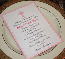 CUSTOM GIRL FIRST HOLY COMMUNION / BAPTISM INVITATION - PINK AND 5x7 SIZE