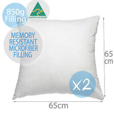 2 X Aus Made Memory Resistant European Pillow Cushion Insert Polyester 65x65cm