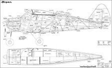 PIPER PA-22 Tri-Pacer, Sportflugzeug (Spannweite 2030 mm). Modellbauplan.