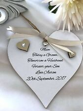Mother of the groom Heart Personalised Keepsake Sign Plaque Shabby Chic P125