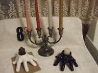 Silver Candelabra for 4 Candles & Unique Ceramic Candle Holders in Form of Hands