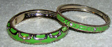 Bagle Lime Green Enameled Crystal Bracelet's (2-Pieces) Hinged