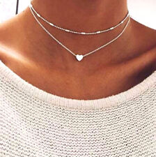 Charms Multilayer Heart Choker Necklace Silver Thin Delicate Short Chain Pendant