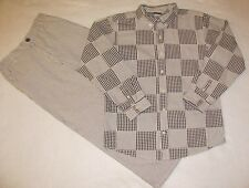 Boys GYMBOREE 2PC Shirt Pants 10 LARGE Patchwork Seersucker Brown Outfit EASTER