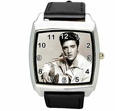 ELVIS PRESLEY Steel LEATHER MUSIC KING LEGEND SQUARE CD  BLACK BAND WATCH E4