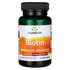 Swanson High Potency Biotin 10,000mcg, 60 Capsules Nourishes Hair Skin And Nails