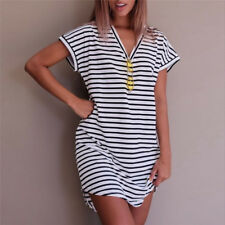 Summer Casual Striped Women Cotton Straight Long T Shirt Style Preppy Desses New