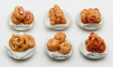 6 PSC Dollhouse Miniature Bakery Bread Food with Dish - DMF001