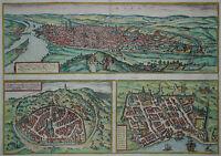 Rouen, Nimes, Bordeaux - Braun und Hogenberg - Original um 1580