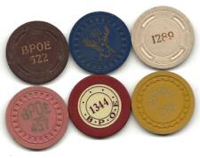 Nice Collection Of Casino Type Poker Chips From Elk Or Elks Lodges In Us-Lot 7