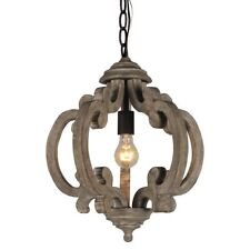 Vintage Wood Metal Chandeliers Shabby Chic Wooden 1-Light Ceiling Pendant Lamp