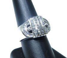 Mens 14k White Gold Princess Round & Baguette Cut 2.60ct Beautiful Diamond Ring