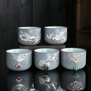 Inlaid silver tea cup Silverware personal cup kungfu cup of tea Marbling 150 ml