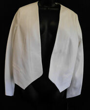 Rafaella Jacket Size 12 NWT White Cotton Blend Lined Long Sleeves V Waist $100