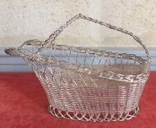 panier porte bouteille vin metal argente tresse wine bottle basket