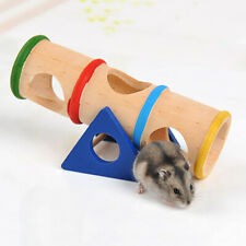 JP_ ITS- CO_ Wooden Hamster Pet Seesaw Barrel Tube Tunnel Cage House Hide Play