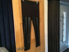 H&M PLUS SIZES BLACK FAUX LEATHER PANELLED STRETCH TROUSERS SIZE LARGE 16-18