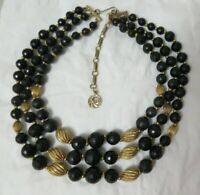 Vintage Three Strand Faceted Black & Textured Gold Tone Bead Lisner Necklace