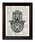 Hamsa Hand 2 - Dictionary Art Print Printed On Authentic Vintage Dictionary Book