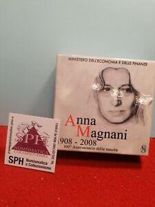 MONETA 5 EURO Commemorativa Argento 2008 ANNA MAGNANI COFANETTO SPH #54