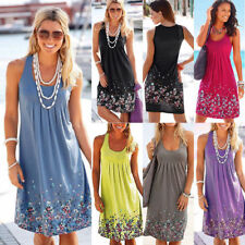 AU Plus Size Womens Boho Floral Sleeveless Summer Holiday Beach Party Dress New