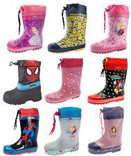 Girls Boys Tie Top Wellington Boots Snow Wellies School Rain Wellys Childrens