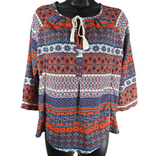 19 Cooper Multi-Color 3/4 Sleeve Blouse Women's Petite Size SP