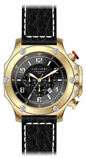 Cavadini Xxl-chronograph Boomerang Stainless Steel Gold-plated Face Black