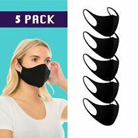 5PCS Face Protective Mouth Cover Washable Reusable Breathable Unisex Black Masks