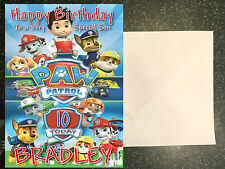 Children's Paw Patrol **Personalised Birthday Card** Any Name/Age
