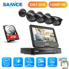 "Sannce 4Ch 1080N 10.1"" Monitor Dvr Outdoor 1080P 2Mp Security Camera System Kit"