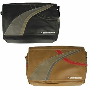 MENS LAMBRETTA JBLAMB21 TARGET ZIP FLAP SMART COLLEGE SHOULDER BAGS WORK SIZE