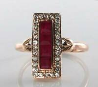 LONG 9CT 9K ROSE GOLD BLOOD RED RUBY & DIAMOND ART DECO INS RING FREE RESIZE