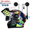 DOT Motorcycle Dual Visor Full Face Flip Up Motorcross Helmet+Bluetooth Headset