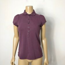 Burberry Brit Women's Purple Puffed Sleeve Button Check Polo Shirt Size Medium