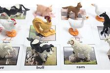 Montessori Farm Animal Match -Miniature Figurine w/ Matching Cards -2 Part Cards