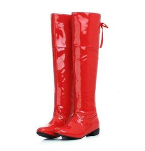 Womens Patent Leather Tall Calf Boots High Boots Back Lace Up Warm Shoes Size 11