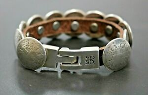 Uno De 50 Silver Plated Concave Disk & Leather Bracelet