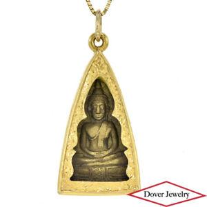 Vintage 22K Gold Textured Medium Temple Buddha Pendant 15.1 Grams NR