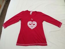 Avon Ladies Red Couple Deer Print Long Sleeve V Neck Cotton T-Shirts Size 8-10