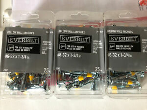 Everbilt #6-32 x 1-3/4 in. Zinc-Plated Steel Hollow Wall Anchors 3 Packs of 25