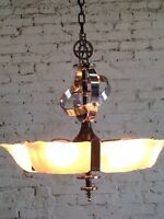 Slip Shade Art Deco 6 Light Fixture Ceiling Chandelier RESTORED CHROME PLATING