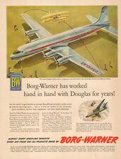 1953 Ad  BORG WARNER Parts in DOUGLAS DC-7  B-66B  Nice Plane Art !   -033015