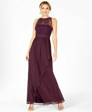 d17f6825087 $379 ADRIANNA PAPELL WOMEN PURPLE LACE ILLUSION HALTER A-LINE GOWN DRESS  SIZE 16
