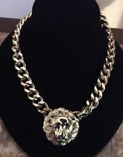"Gold Tone Lion Head Heavy Necklace 16"" /2"" Extent Chain"