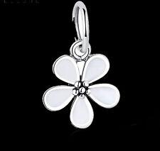 Genuine .925 STERLING SILVER White Primrose Flower Daisy Pendant Bracelet Charm