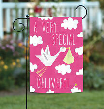 NEW Toland - Special Delivery Girl - Cute Pink Infant Baby Stork Garden Flag
